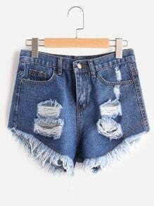 Distressed Frayed Hem Denim Hot Pants
