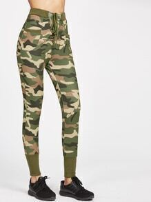 Camo Print Ribbed Trim Lace Up Skinny Pants