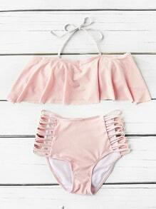 Flounce Detail Leiter Ausschnitt High Taille Bikini Set