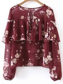 Floral Ruffle Trim Chiffon Top