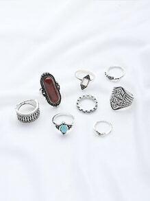 Gemstone Design Ring Set