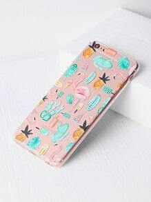 Funda para iphone 6 plus/6s plus con estampado de flamenco y planta