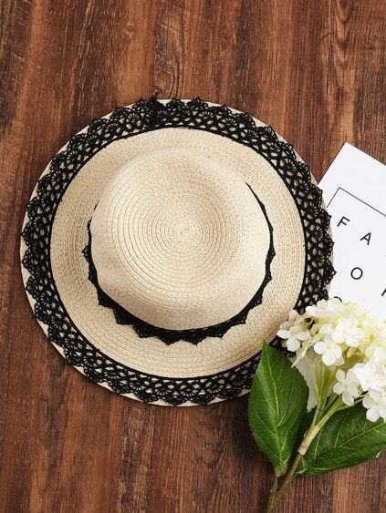 Contrast Lace Trim Straw Hat