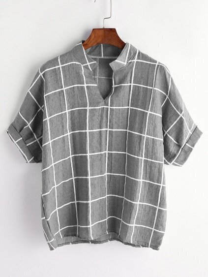 Stand Collar Gingham Print Blouse