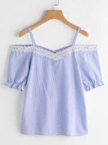 Offene Schulter Pinstriped Kontrast Spitze Trimm Bluse
