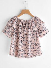 Flounce Layered Elasticized Neckline Ditsy Print Bow Tie Front Top