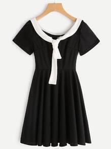 Contrast Trim Tie Front Pleated A Line Dress