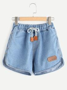 Curved Hem Denim Shorts