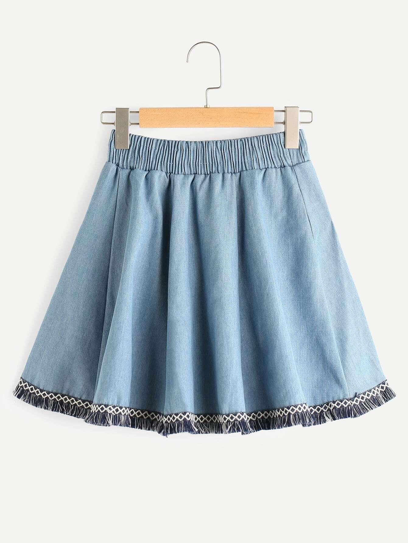 Embroidered Tape Detail Fringe Hem Denim Skirt