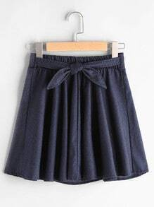 Knotted Front Denim Skirt