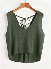 Lace Up Back Dip Hem Knit Tank Top