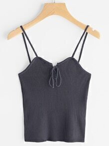 Lace Up Ribbed Cami Top