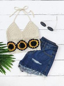 Sunflower Crochet Halter Top