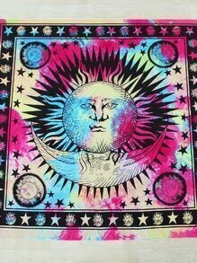 Sun And Moon Print Square Beach Blanket