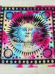 Manta playera cuadrada con estampado de sol y luna