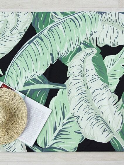 Leaf Print Beach Blanket