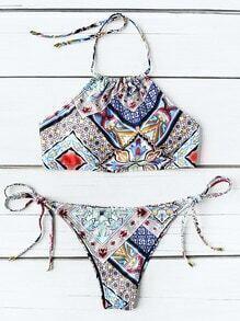 Ensemble de bikini à breloques imprimés à imprimé graphique