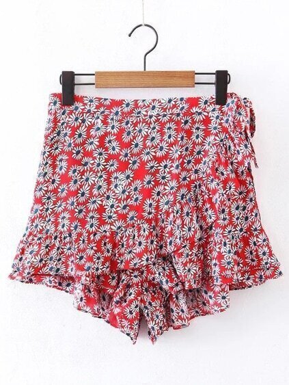 Ditsy Print Ruffle Layered Skirt Shorts