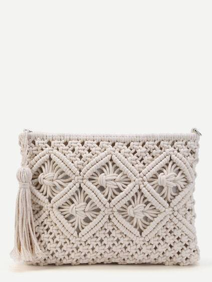 Crochet Clutch Bag With Tassel