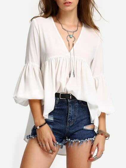 White V Neck High Low Pleated Blouse