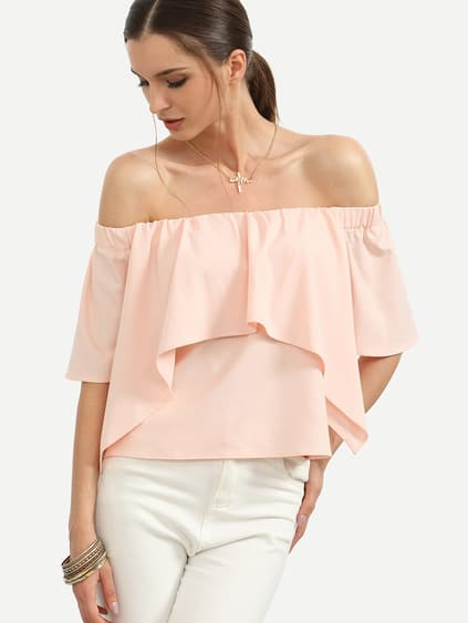 Pink Off The Shoulder Ruffle Blouse