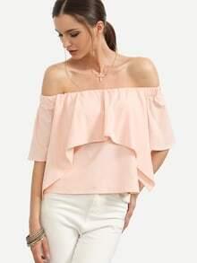 Bluse schulterfrei mit Rüschenin rosa