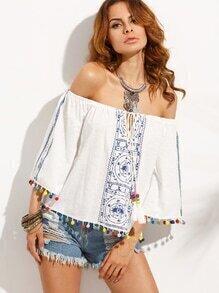 Schulterfreie Bluse mit Druck - blau und weiß