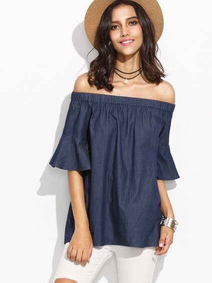 Blue Bell Sleeve Off The Shoulder Chambray Top