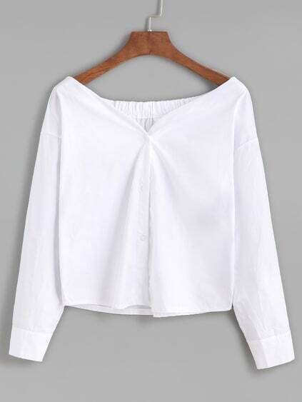White Boat Neck Button Front Blouse
