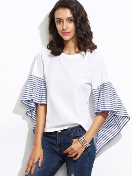 White Striped Asymmetric Bell Sleeve Top