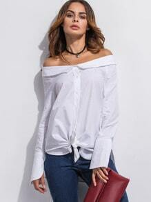 Shirt Super langarm Schulterfrei - weiß