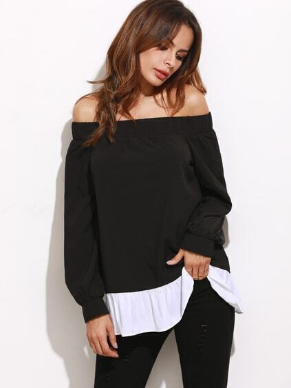 Black Contrast Ruffle Trim Off The Shoulder Top