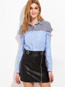 Rüsche Bluse mit Streifen Kontrast Gingham-Ausschnitt-blau