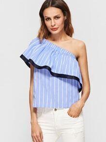Rüschen Top mit Streifen Kontrast Saum One Schulter-blau und weiß