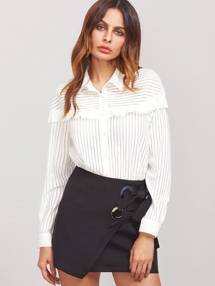White Striped Ruffle Trim Button Up Blouse