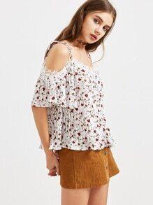 Top mit Spitze Blumendruck mit nackten Schulter Einfassung - weiß