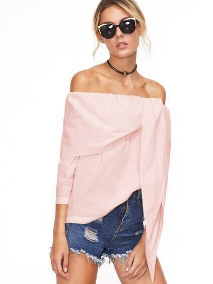 Pink Off The Shoulder Tunic Top