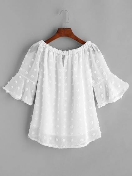 White Boat Neck Dotted Jacquard Chiffon Top