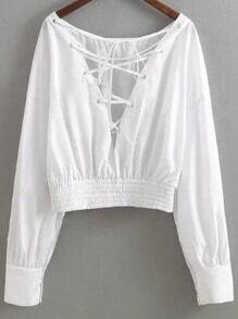 Weiße Criss Cross V Neck Bluse