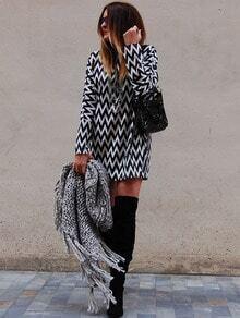 Kleid Langarm mit Geometrie Druck-schwarz und weiß