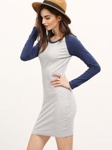 ärmelloses Bodycon Kleid mit Kontrastfarben - grau und blau