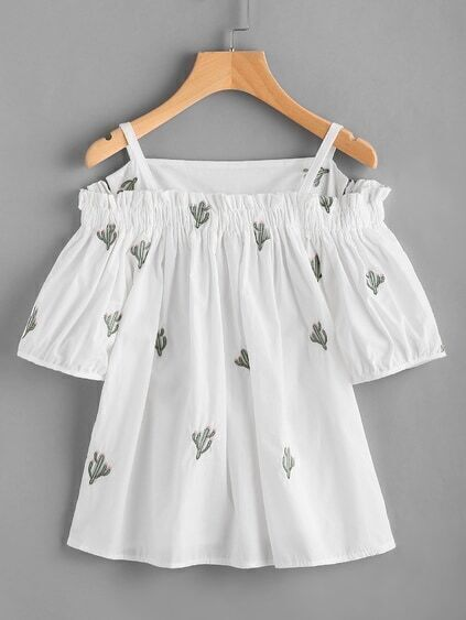 Cold Shoulder Cactus Embroidered Top