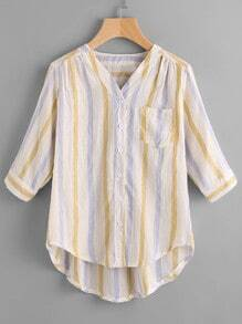 V-Cut Striped High Low Blouse