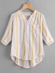 Blusa irregular escote V de rayas
