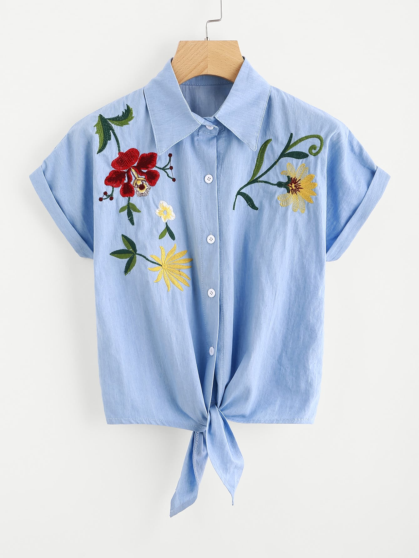 Tie Front Flower Embroidered Denim Shirt