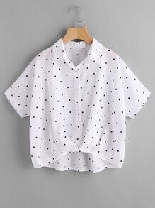 Textured Dots High Low Blouse
