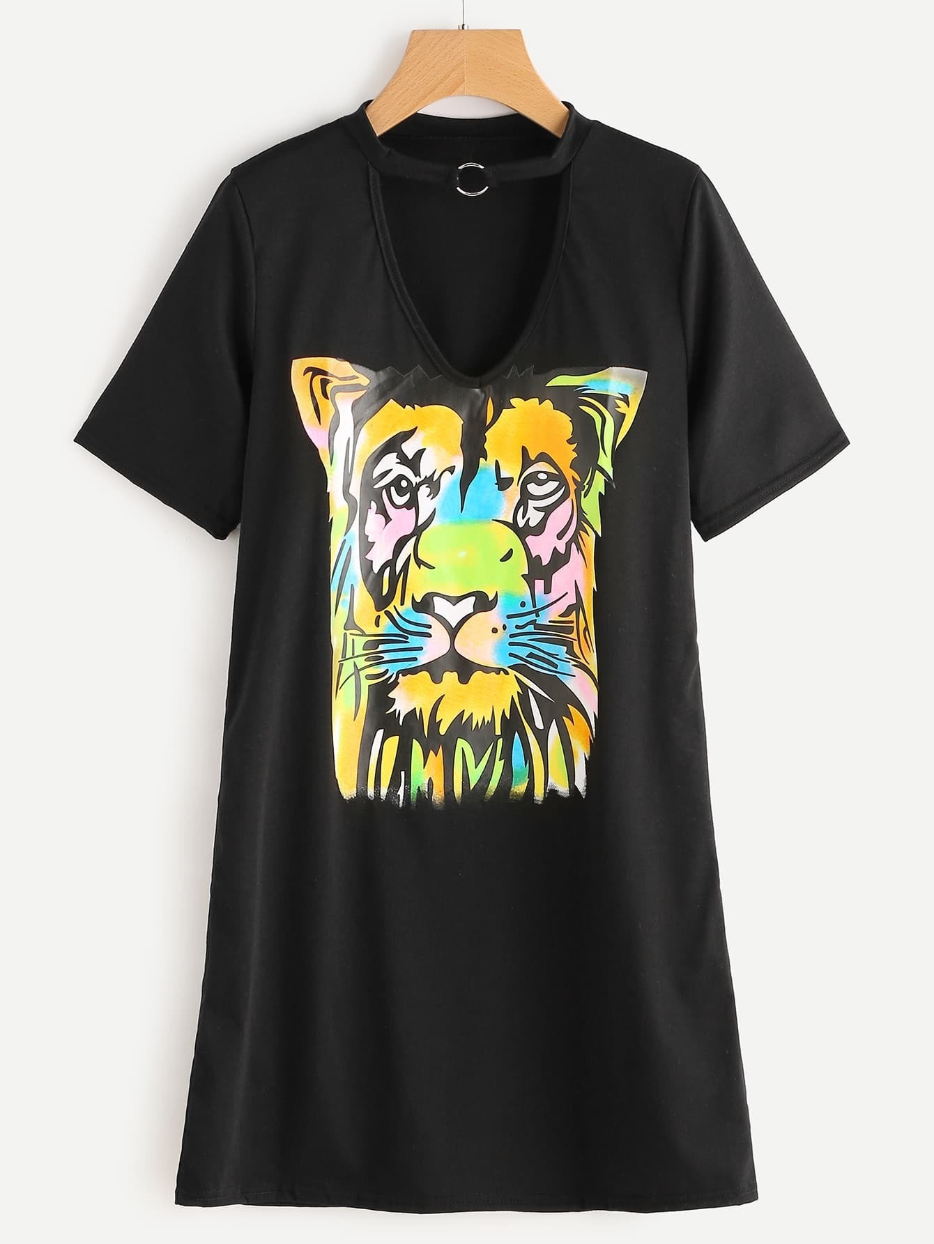 Image result for Choker V-Cut Tiger Print Tee Dress