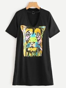 Choker V-Cut Tiger Print Tee Dress
