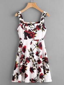 Floral Print Wide Strap A-Line Dress