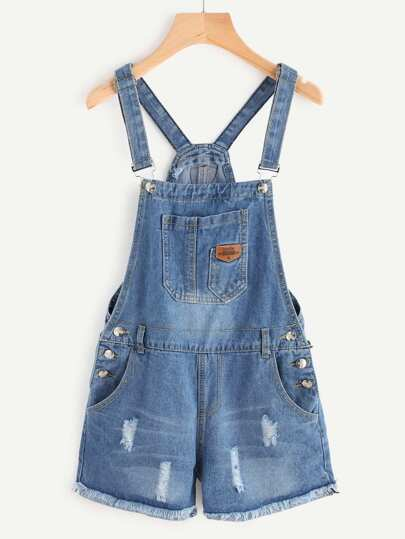 Mono peto en denim de borde crudo